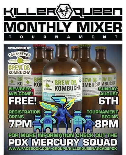 Image for Killer Queen Monthly Mixer Sponsored by Brew. Dr. Kombucha – Sunday 9/6, 7pm