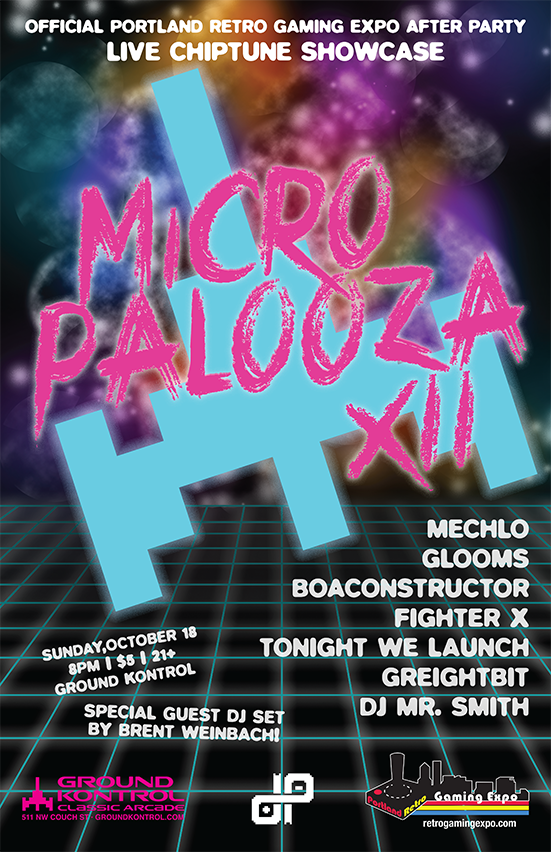 Image for Micropalooza XII: Live Chiptune Showcase & Official PRGE After Party – Sunday 10/23, 8pm