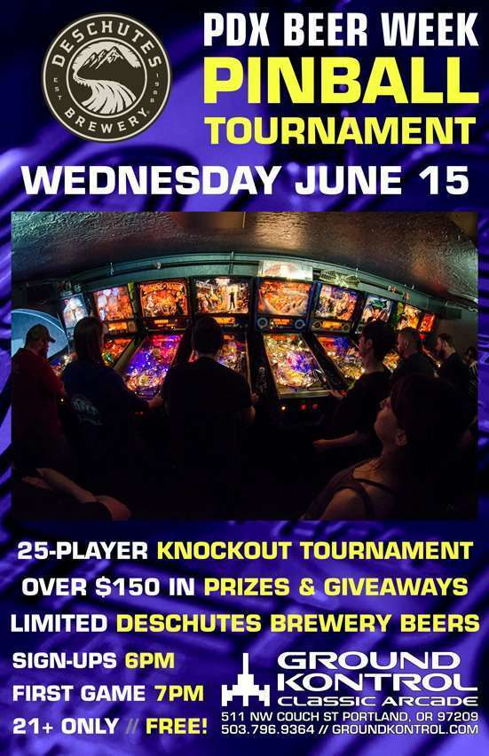 Deschutes Brewery PDX Beer Week Pinball Tournament – Wednesday 6/15, 7pm