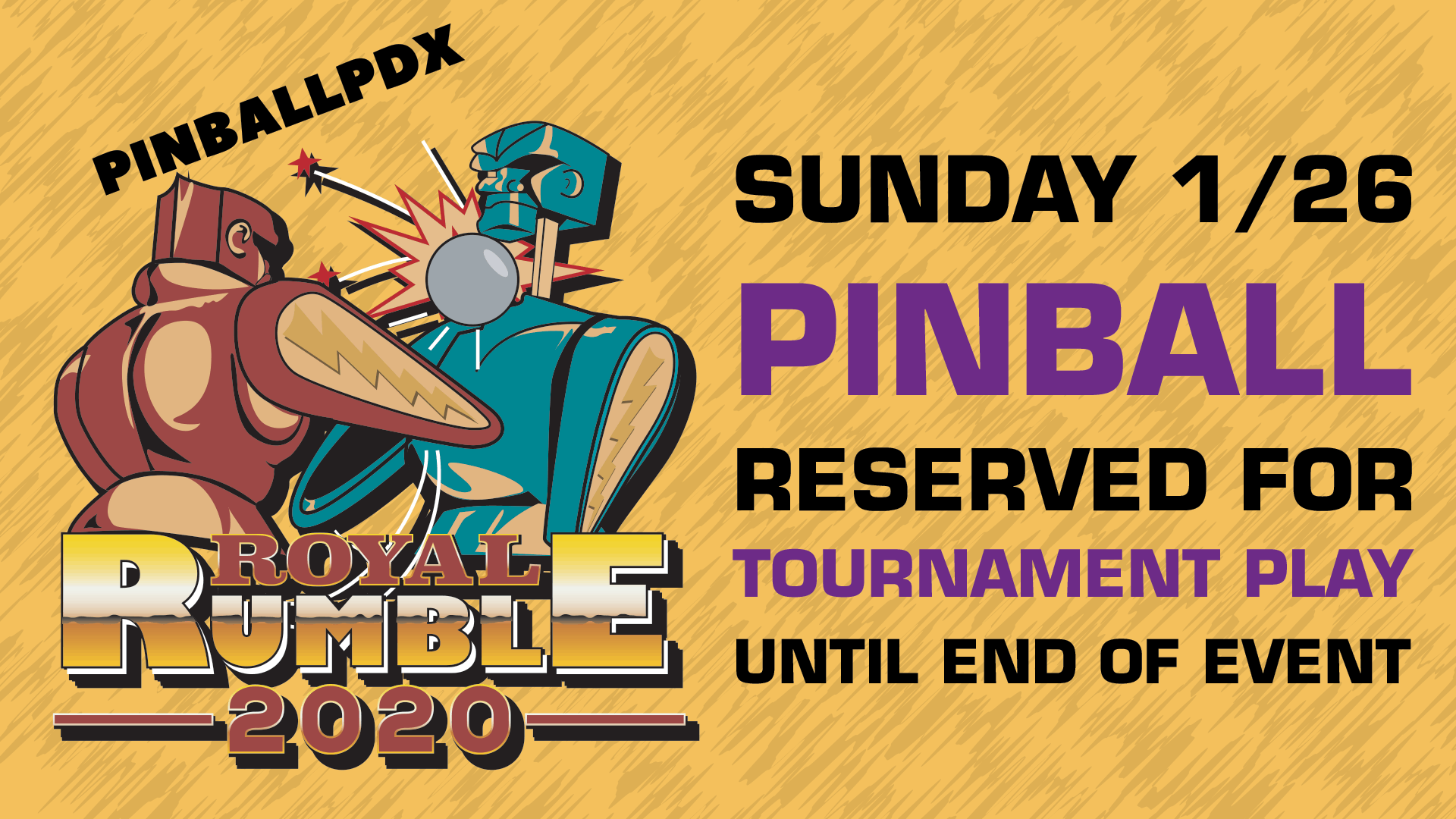Pinball Tables Reserved for PinballPDX Royal Rumble Players